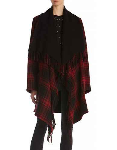 The Kooples Wool-Blend Checkered Poncho-RED-One Size