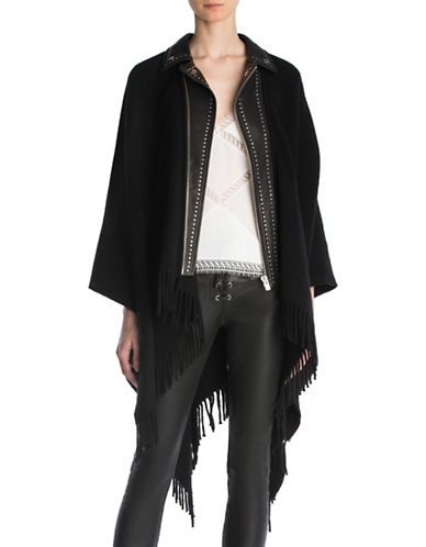 The Kooples Leather Collared Wool-Blend Poncho-BLACK-One Size