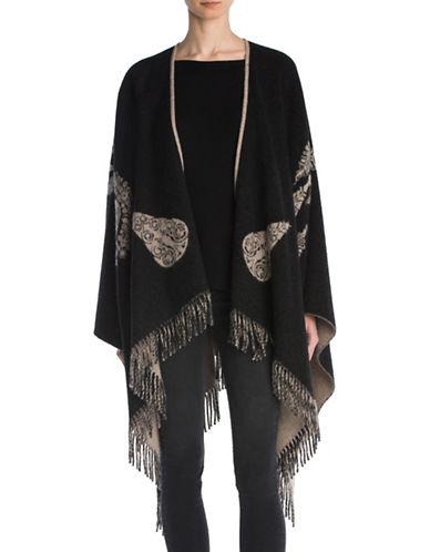 The Kooples Jacquard Wool-Blend Poncho-BLACK-One Size