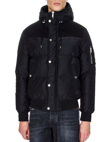The Kooples Suede and Leather Panel Down Jacket-BLACK-Small