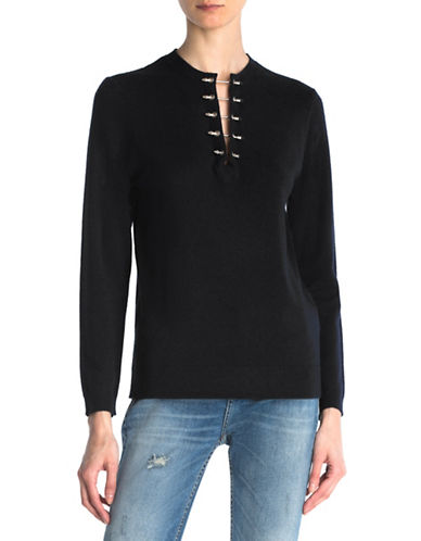The Kooples Wool & Cashmere Piercing Sweater-BLACK-Small