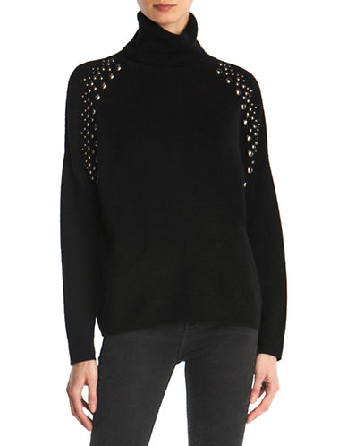 The Kooples Studded Cashmere Turtleneck Sweater-BLACK-Small