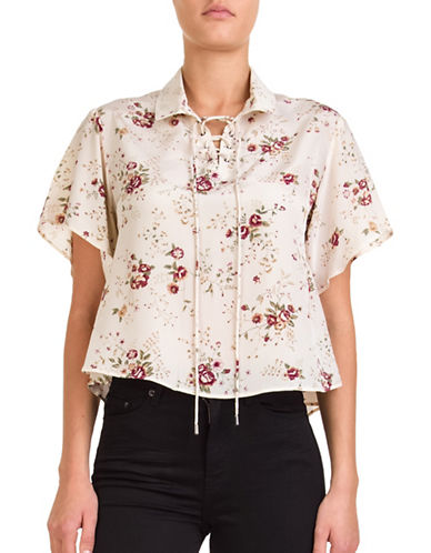 The Kooples Random Flower Silk Blouse-BEIGE-Large