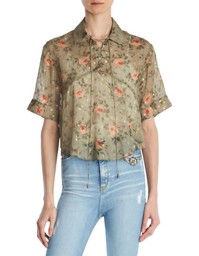The Kooples Garden Roses Lace-Up Silk Top-GREEN-Small