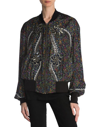 The Kooples Gipsy Embroidered Baseball Jacket-MULTI-Large