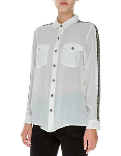 The Kooples Silk Jeweled Shirt-WHITE-Small