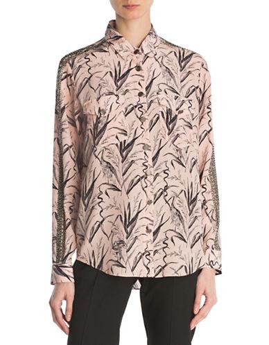 The Kooples Embellished Silk Shirt-PINK-Medium