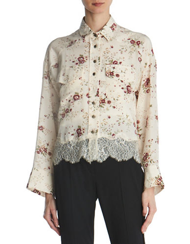 The Kooples Floral Lace-Hem Silk Shirt-BEIGE-Small