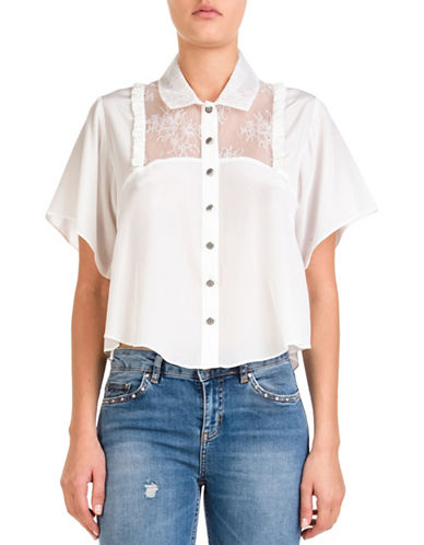 The Kooples Lace Plastron Blouse-BEIGE-Large