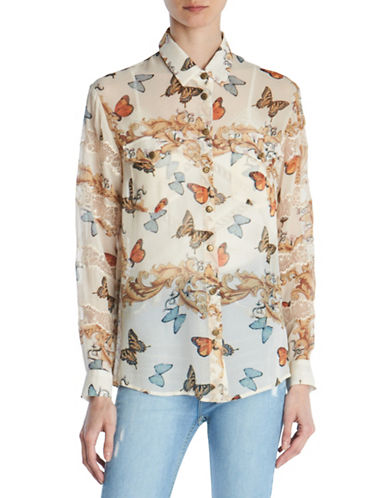 The Kooples Butterfly-Print Silk Shirt-BEIGE-Small