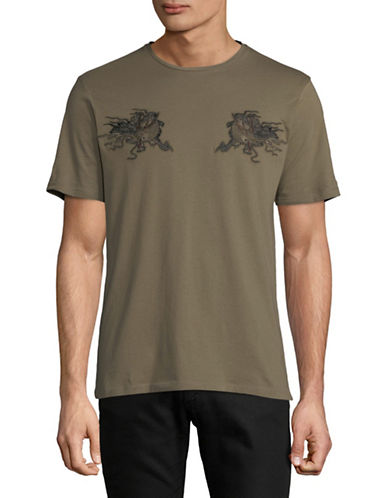 The Kooples Embroidered Cotton T-Shirt-BROWN-Medium
