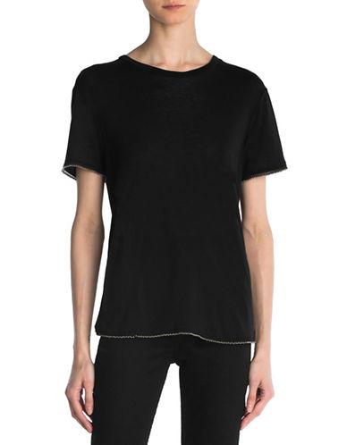 The Kooples Linen-Blend Jersey Tee-BLACK-Large