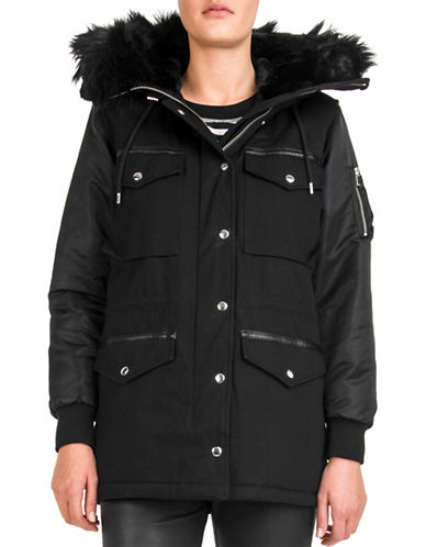 The Kooples Light Bi Fabric Parka-BLACK-Small