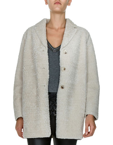 The Kooples Oversized Faux Fur Coat-BEIGE-X-Small