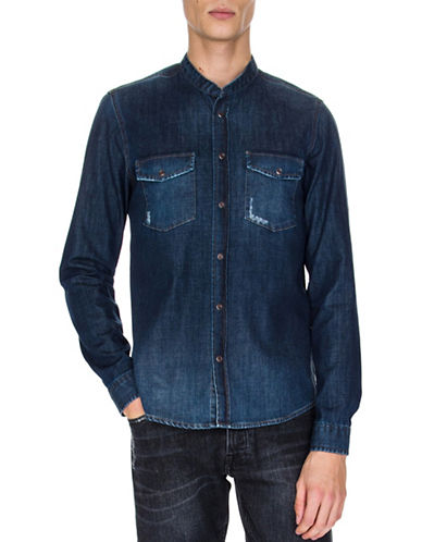 The Kooples Washed Denim Sportshirt-BLUE-Small