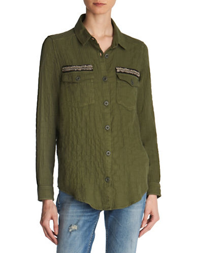 The Kooples Graphic Crinkled Button-Down Shirt-GREEN-XX-Small