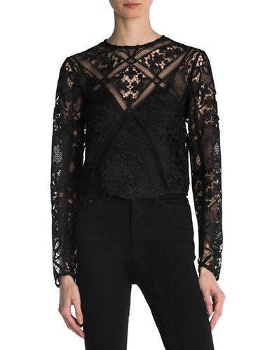 The Kooples Botanique Lace Top-BLACK-Small