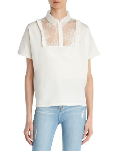 The Kooples Lace Bib Cotton Jersey Tee-BEIGE-Medium