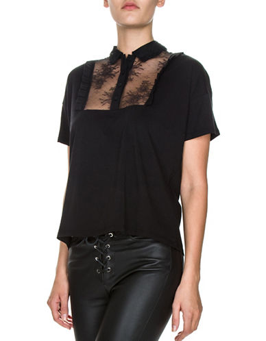 The Kooples Lace Bib Cotton Jersey Tee-BLACK-Medium