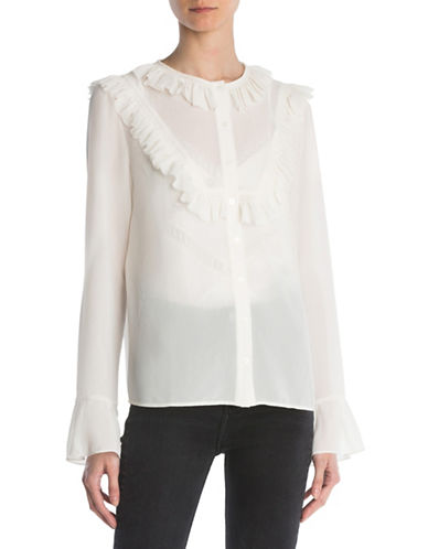 The Kooples Ruffled Long Sleeve Shirt-BEIGE-Small