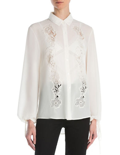 The Kooples Floral Lace Ecru Blouse-BEIGE-XX-Small