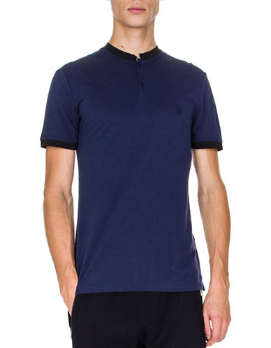The Kooples Grosgrain Collar Polo-BLUE-Large