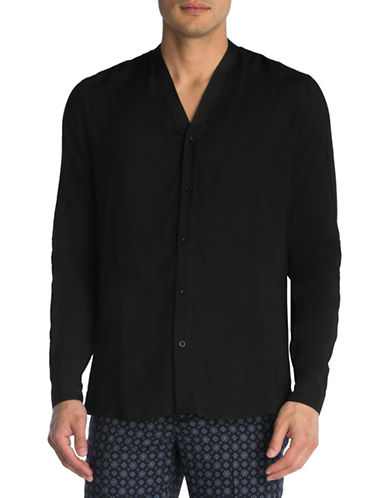 The Kooples Kimono Cotton Sport Shirt-BLACK-X-Small