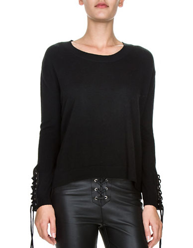 The Kooples Lace-Up Wool Pullover-BLACK-Small