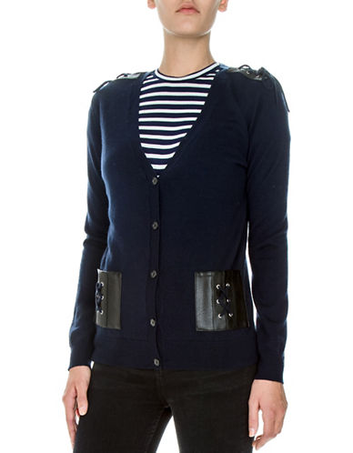 The Kooples Wool and Leather Lace-Up Cardigan-NAVY-Medium
