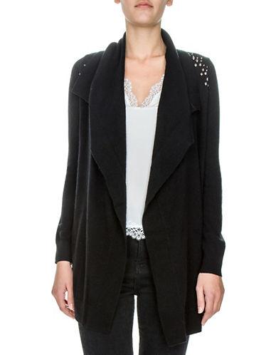 The Kooples Wool-Blend Studded Drape Cardigan-BLACK-Medium