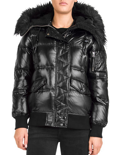 The Kooples Technical Faux Fur Puffer Jacket-BLACK-Small 89676437_BLACK_Small