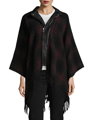 The Kooples Wool-Blend Poncho Leather Trim-RED-One Size