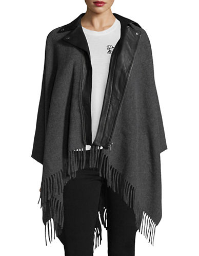 The Kooples Wool-Blend Poncho Leather Trim-GREY-One Size