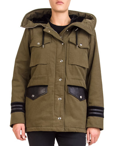 The Kooples Faux Fur-Trimmed Twill Parka-KHAKI-X-Small