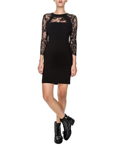 The Kooples Shiny Crepe and Lace Sheath Dress-BLACK-X-Small