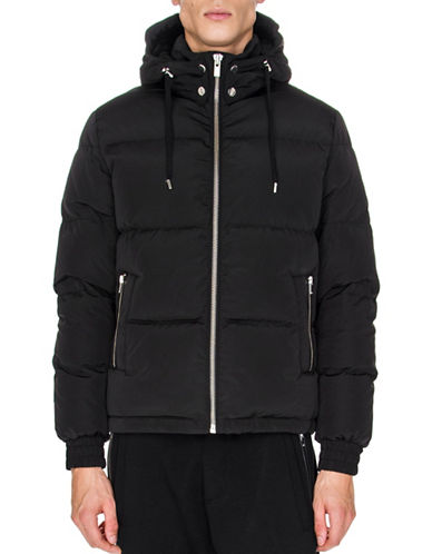 The Kooples Leather Detail Down Jacket-BLACK-Medium