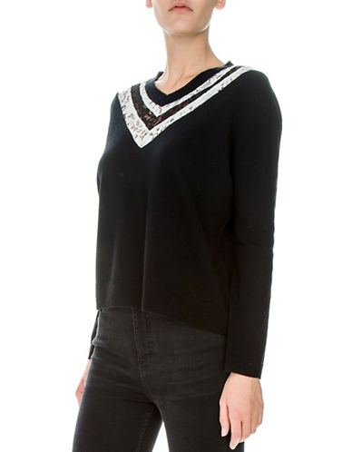 The Kooples Wool and Cashmere Lace Pullover-BLACK-Small