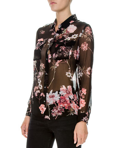 The Kooples Floral Chiffon Silk Shirt-BLACK-X-Small