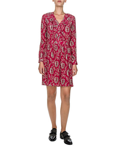 The Kooples V-Neck Floral Silk A-Line Dress-RED-X-Small