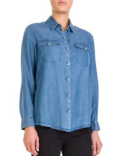 The Kooples Buttoned Denim Shirt-BLUE-Small