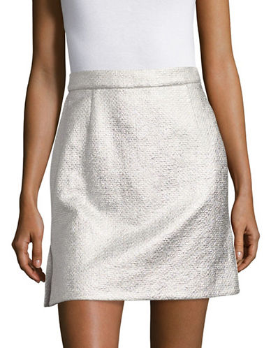 Carven Textured Mini Skirt-SILVER-40