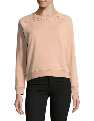 Carven Long Sleeve Crew Neck Sweater-PINK-Small
