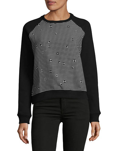 Carven Checkered Raglan Sweater-BLACK MULTI-X-Small