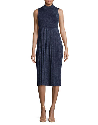 Carven Sleeveless Lurex Pleat Dress-BLUE-Large
