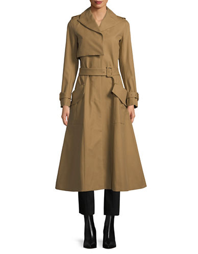 Carven Manteau Long Cotton Trench Coat-CAMEL-36