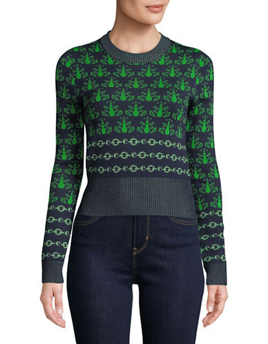 Carven Multicoloured Long-Sleeve Wool-Blend Sweater-GREEN-Small