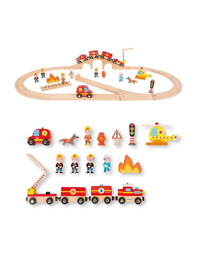 Janod Firefighter Wood Trains-GREY-One Size