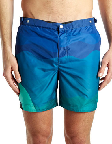 Robinson Les Bains Oxford Long Profile Swimshorts-GREEN-Medium