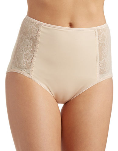 Jockey Side Lace Slimmers Briefs-BEIGE-Medium