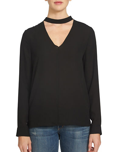 1 State Game On Bar Neck Blouse-BLACK-Medium